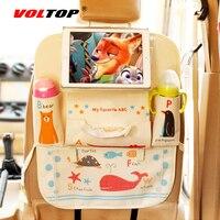 Cartoon Animal Car Seat Back Storage Bag Child Paper Napkin Debris Bottle Cup Tablet Hanging Bag