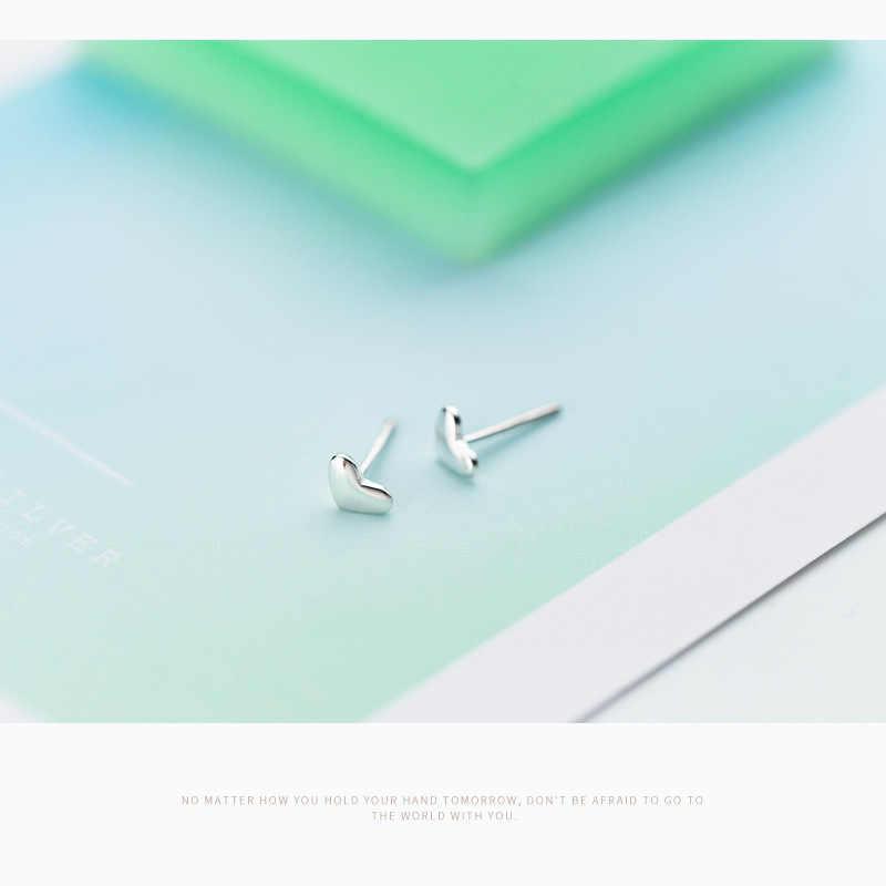 925 Sterling Silver 2018 Women Fashion Heart Small Love Stud Earrings Friendship Gift for Teen Girls friends B026