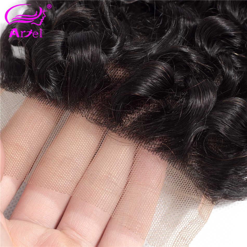 Ариэль индийские глубокая волна Кружева Закрытие 4x4 100% человеческих волос глубокое закрытие свободный Средний три части 130% плотность естественного цвета закрытие