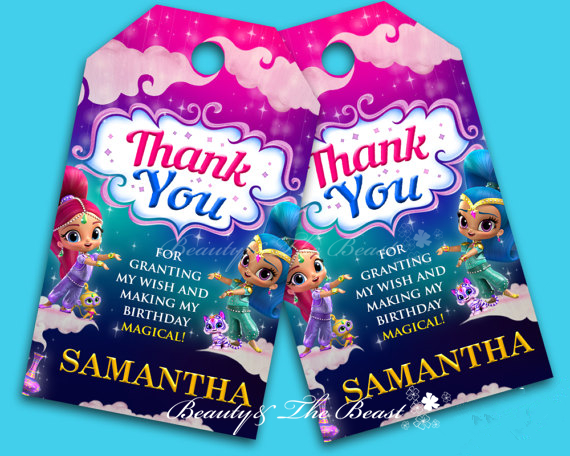 Personalize Shimmer And Shine Gift Favor TagsThank You TagsBirthday Party Decorations Kids