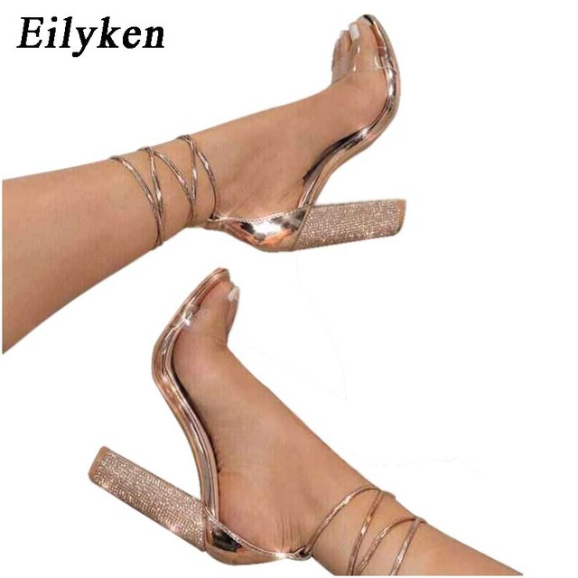 Eilyken 2018 New Fashion Women Sandals Ankle Strap Perspex High Heels PVC Clear  Crystal Sandals Shoes d42aa13cacc3