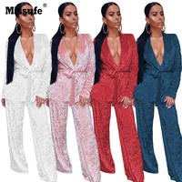 Missufe 4 Colors 2017 Autumn Winter Womens Set Velvet Casual 2 Piece Women Suits Sexy Deep