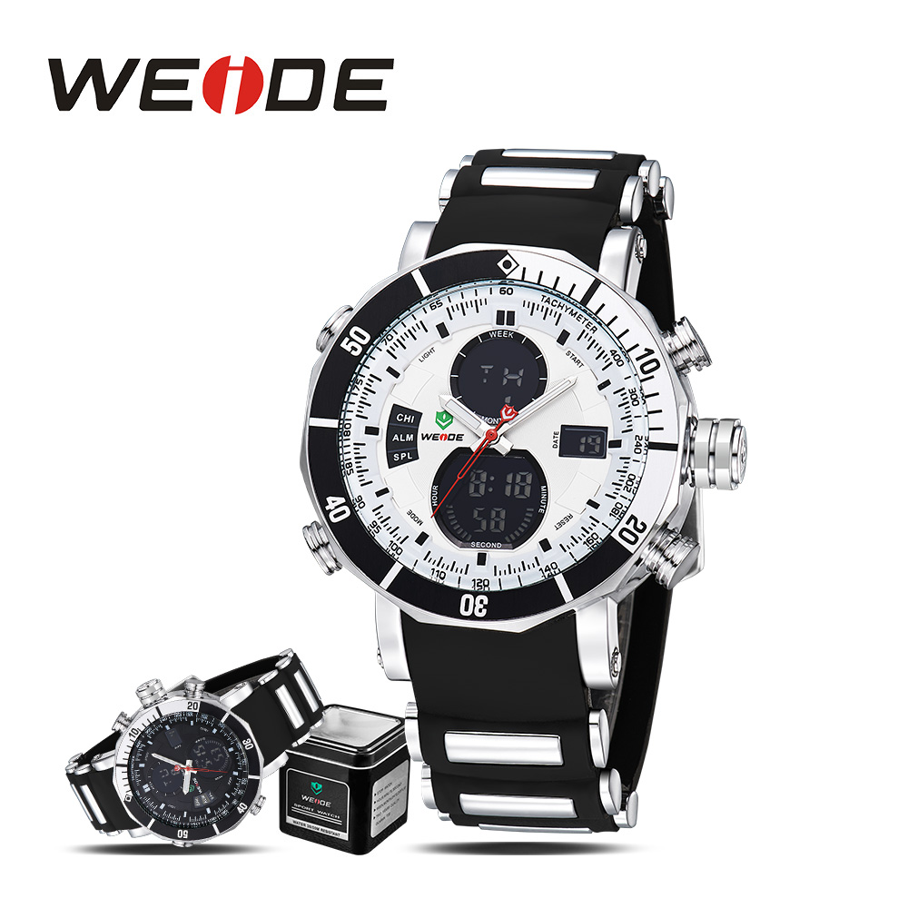 2017 hot weide men sport silicon watch date digital led analog water resistant military watch luxury quartz electronic watches weide brand irregular man sport watches water resistance quartz analog digital display stainless steel running watches for men