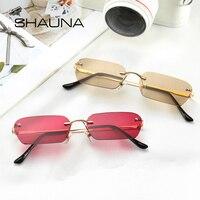 SHAUNA Модные солнцезащитные очки без оправы трендовые прозрачные красные синие желтые Мужские квадратные оттенки