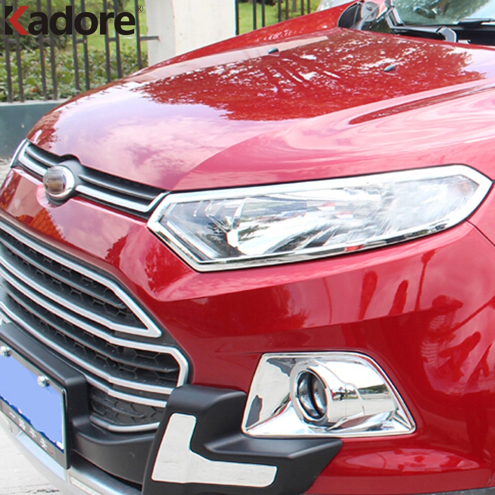 Front headlight lamp hoods cover trim for ford ecosport 2013 2014 2015 2016 abs chrome car
