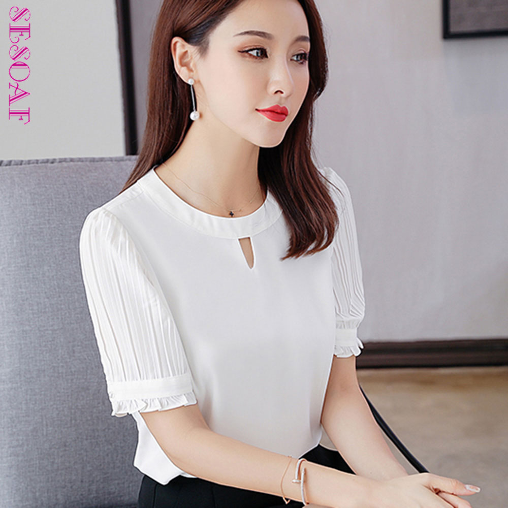 Women's Clothing Sweet Short Blouse Women Korean Chic Lotus Leaf Edge V-neck Shirt New Lantern Sleeve Spring Shirts Girls Holiday Crop Top White
