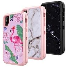 حافظة صلبة من Yokata 3 في 1 لهواتف iphone 6 6s plus غطاء لهاتف Flamingo أسود أبيض من الرخام أفضل حماية لهاتف iphone X Funda