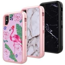 Yokata 3 in 1 Hard Case pc Voor iphone 6 6s plus Cover Voor Flamingo Zwart Wit Marmer Beste Bescherming Coque Voor iphone X Funda