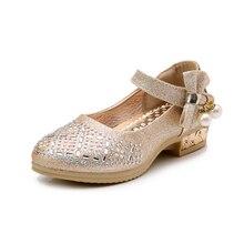 Kids High Heels Girls Shoes PU Leather Children 2019 Shining Summer Sandals Big Princess Wedding for