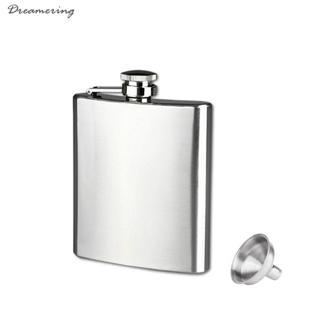 Hot Sale 7oz Stainless Steel Pocket Hip Flask Alcohol Whiskey Liquor Screw Cap + Funnel High Quality Free Shipping,Dec 17