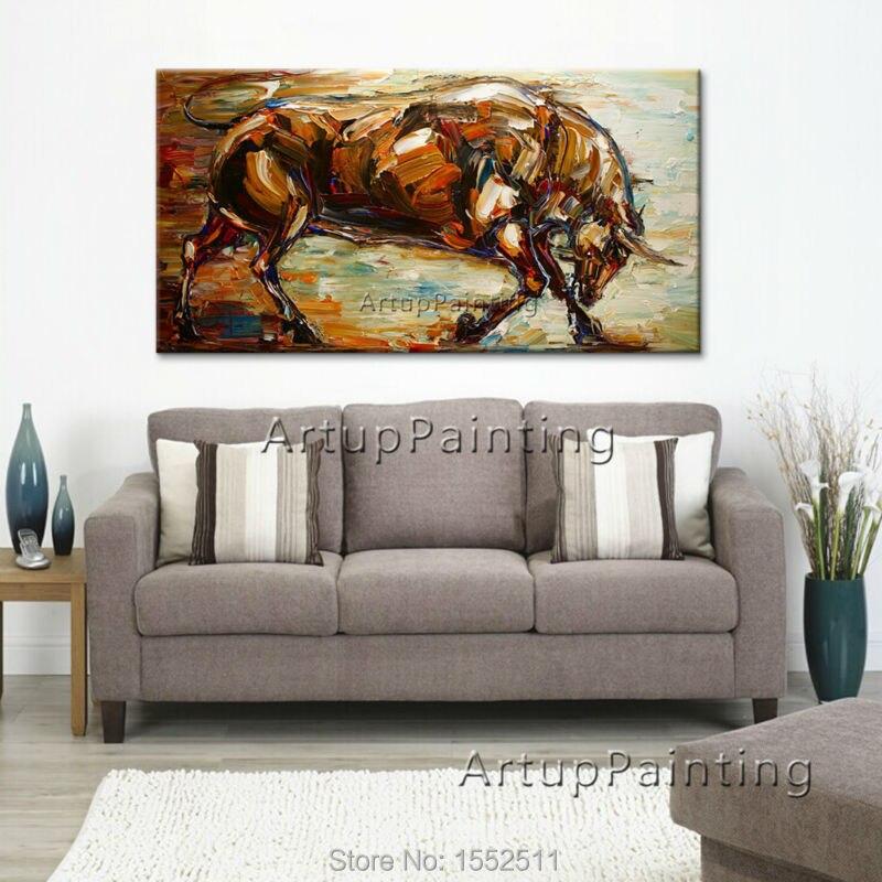 Moderne popkunst dekorative billeder abstrakte dyr tyr olie malerier - Indretning af hjemmet - Foto 3