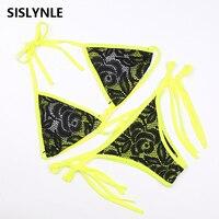 SISLYNLE 2017 Minimalism Le Bandage Bikini Lace Patchwork Women Swimwear Swimsuit Sexy Maillot De Bain Bathing