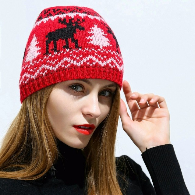 2018 KBB Spring Popular Seasonal Red Wool Reindeer Pattern Animal Children  Men Yarn Knit Women Winter Hat Beanie Skullies f32369ab688
