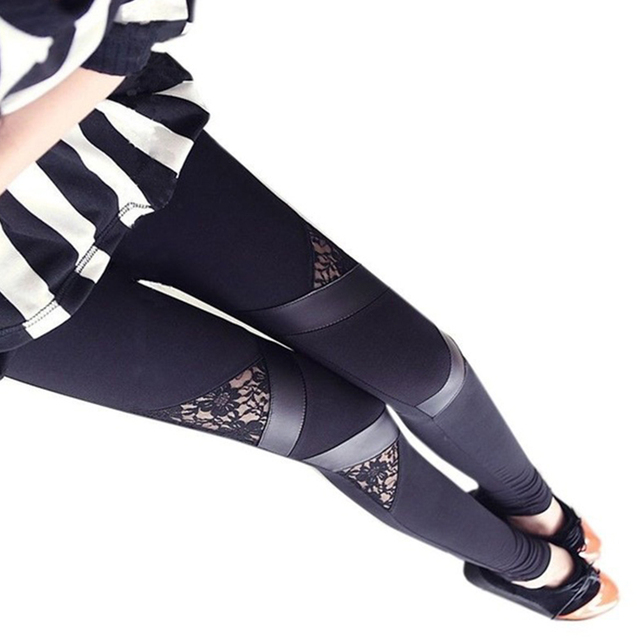 Warm Skinny Leggings with Lace Insets