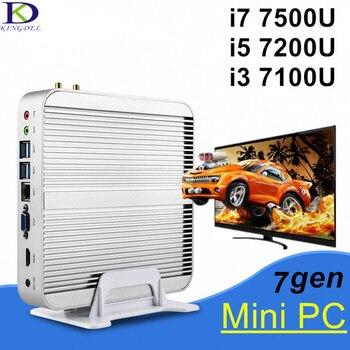 High speed CPU [Core i7 7500U i5 7200U i3 7100U] 7th Gen Fanless Mini PC Desktop Computer 4K HD HTPC Wifi Windows 10 Pro Nettop