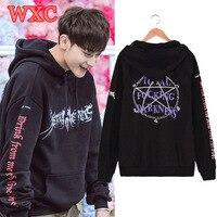 Kpop Ikon Bobby Exo Chanyeo Tao Hooded Hoodies Unisex Pentagram Printed Sweatshirt Casual Loose Hip Hop
