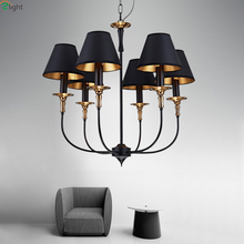 North Europe Ikea 110V - 240V Modern Simple Led Chandelier Meditterranean Pendant Iron With Fabric Lampshades