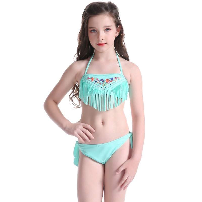 Girl Swimsuit Lace Up Halter Swimwear Children Kid Embroidering Floral Cute Embroidery Fringing Swimsuit Beach Bathing Suit