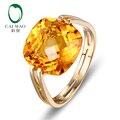 CaiMao 10KT/417 Желтое Золото 6.41ct Натуральный Цитрин Обручальное Кольцо Ювелирные Изделия