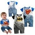 Superman & Batman Macacão Dos Meninos Do Bebê verão Macacão Ropa Bebe Roupas Bebes Menino Romper Macacão Roupa Dos Miúdos Vestuário Infantil