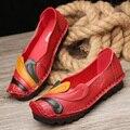 2017 Оригинал натуральной Кожи Ручной Работы женская Обувь Случайные Плоские Индивидуальный Ретро Обувь мягкий удобный размер 35-40
