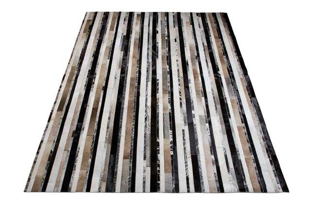 € 568.22 |Naturel Tapis De Vachette Patchwork Noir, Beige et Cuir Blanc  Tapis Rayures No 228 dans Carpette de Maison & Jardin sur AliExpress.com |  ...