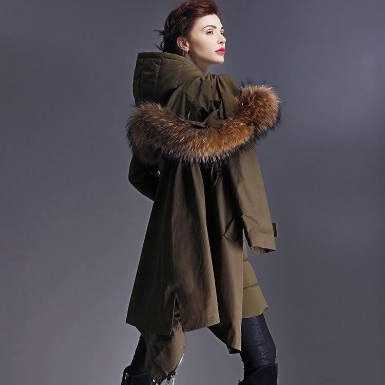 Real Fur Twinset 2017 winter Jacket women down jackets long loose design hood Women's down coat outerwear duck down parka
