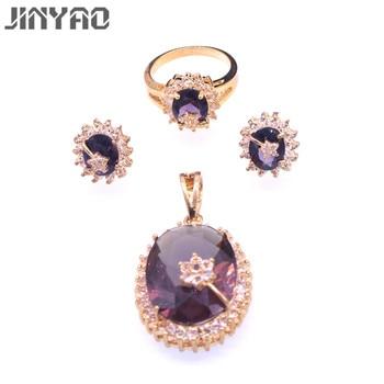 01947db5a906 JINYAO de lujo Champagne Color oro colgante de circón pendientes conjuntos  de joyas para mujeres joyería de la boda parure bijoux femme mariage