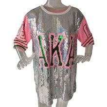 Новинка, шикарная футболка в стиле хип-хоп, AKA, футболка с коротким рукавом, платье, женская уличная футболка с блестками, для сцены, танцев, клуба, вечерние