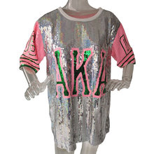 Nieuwe Hip Hop Bling T-shirt AKA Half Mouw T-shirt Jurk Vrouwen Straat Pailletten T-shirt Voor Stage Dance Club Party(China)