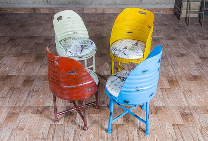 Bar chair. Iron oil barrel stool. Paint bench. Tin bucket