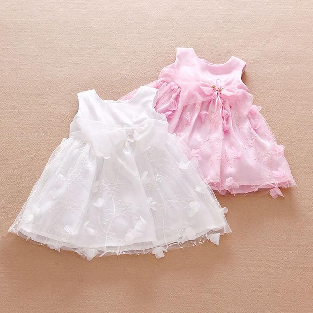 3D Flower Girls Dress 2016 Summer Baby Girl Baptism Dress White Sleeveless Kids Party Wear Princess Dresses for Infatn Clothing