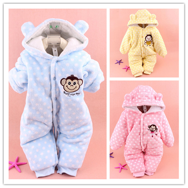 Winter Newborn Baby   Rompers   Cartoon Infant Girl Clothes Hooded Snowsuit Warm Thick Overalls Babies Boy Jumpsuits Childrn Clothes