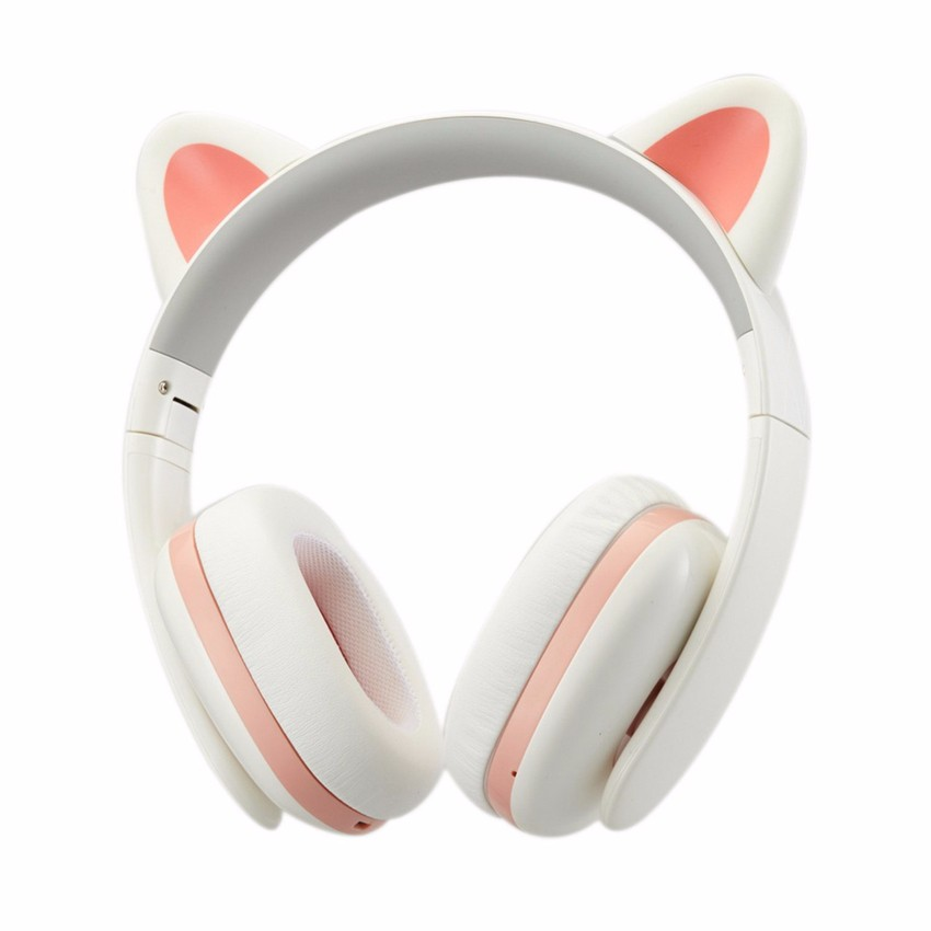 Detachable Wireless Cat Ear Headphone bluetooth With LED Glowing for PC Computer Mobile Phone Best Headset For Kids Girls