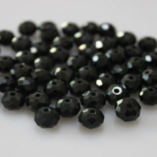 Isywaka разноцветные 4*6 мм 50 шт Австрийские граненые стеклянные бусины Rondelle, круглые бусины для изготовления ювелирных изделий - Цвет: Black