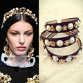 Luxury Baroque style Gold tone flower pearl wide hair band head wrap hair accessories Celebrity love