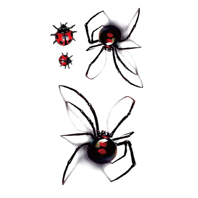 Disposable Waterproof Tattoo Stickers 3d Color Spiders Insects Large Pattern Water Transfer Temporary Tattoos Sticker