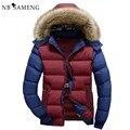 2016 Nova Moda Inverno Quente Homens Jaqueta de Roupas de Marca Jaquetas Parka da Pele Do Falso Casaco de Capuz Para Baixo NSWT172