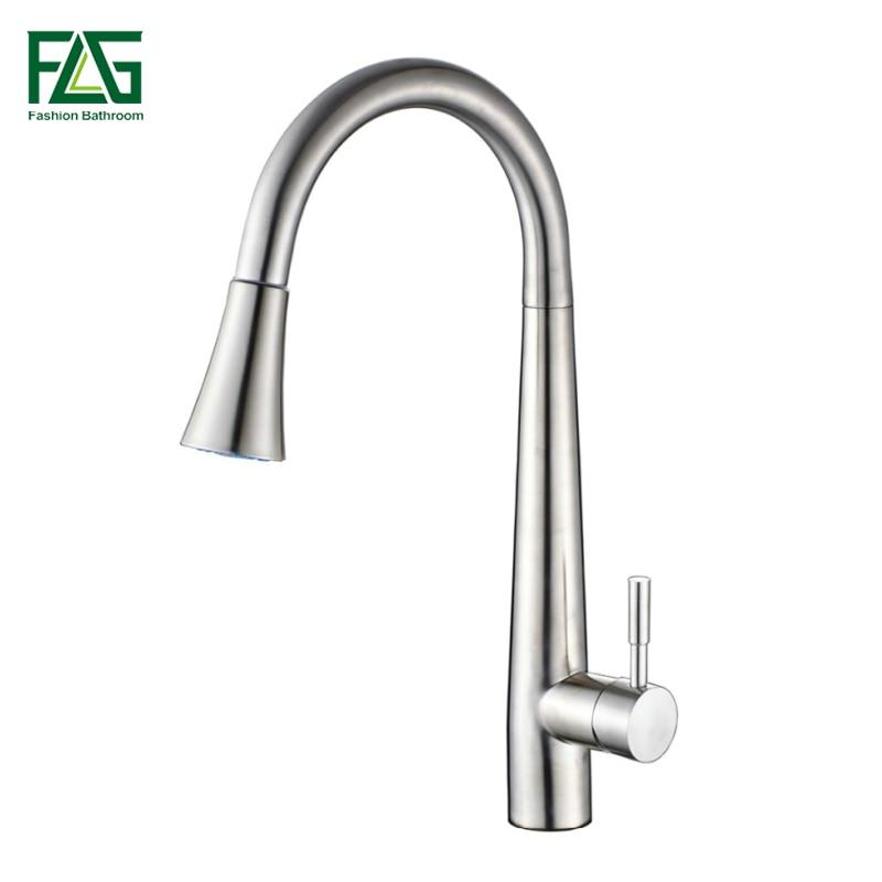 FLG Pull Out Kitchen Wasserhahn 304 Edelstahl Topf Mit Tap Alle Around Drehen Swivel 2-Funktion Wasser Outlet grifo Lavabo CS003