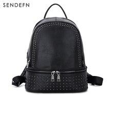 SENDEFN 2017 NEW Backpack Genuine Leather Women Backpack Fashion School Backpack luxury Women Shoulder Bag Youth Shoulder Bag Wo