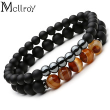 2d1a3ff6cc6 Mcllroy 2pc Natural stone Bracelet Beaded Black Mantra Prayer Beads Buddha  Bracelet for Women and Mens men jewelry viking bijoux