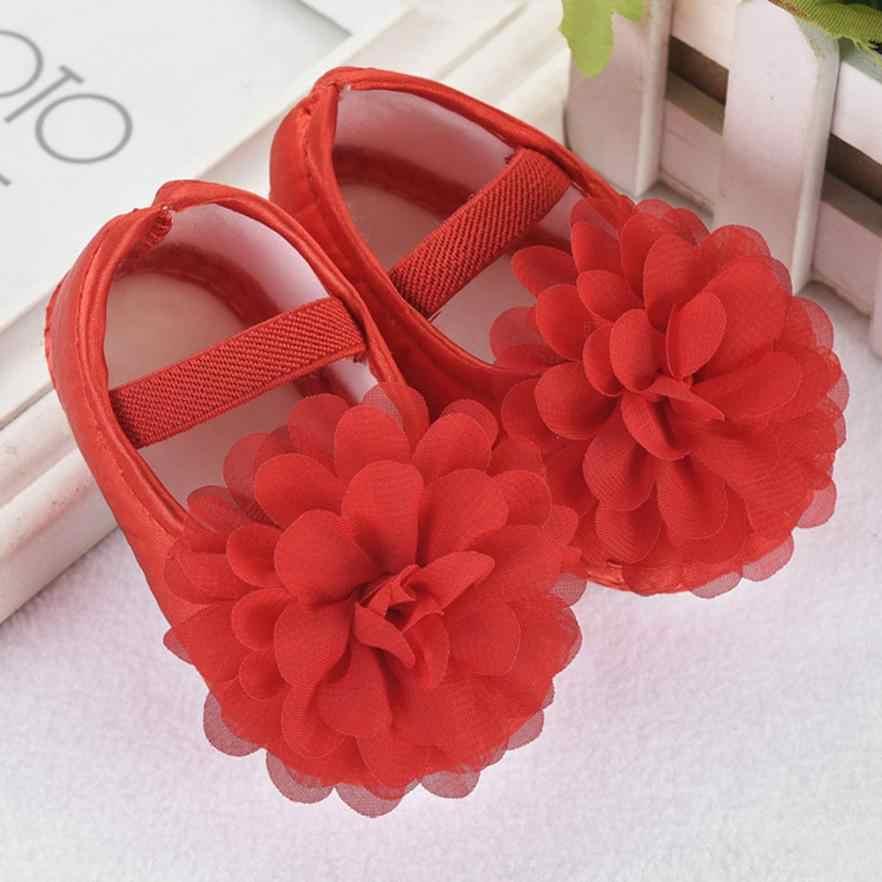 Sıcak satış Toddler bebek kız şifon çiçek elastik bandı yenidoğan yürüyüş ayakkabısı bebek kız ayakkabı eğlence ilk yürüyüş ayakkabıları yaz