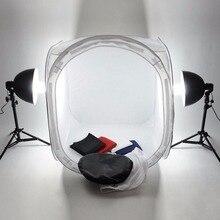 Купить с кэшбэком Studio Lightbox Pro Photography Equipment Foldable 50cm Pop Up Photo Studio Soft Box Light Softbox Lighting Tent 4 Backdrops