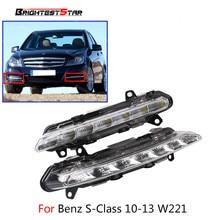 цена на Pair 2218201756 2218201856 L+R LED DRL Daytime Running Light Fog For Mercedes S-Class W221 S350 S500 2009 2010 2011 2012 2013