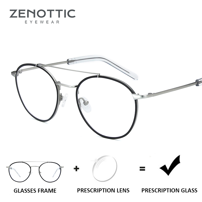 ZENOTTIC Titanium Alloy Prescription Glasses Men Women Myopia Optical Anti-Blue-Ray Eyeglasses Frame Unisex Photochromic Clear(China)