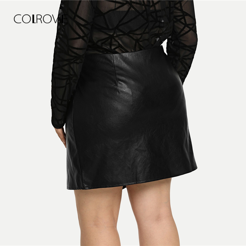 Image 3 - COLROVIE Plus Size Black Solid Zipper Sexy Korean Leather Skirt Women Autumn Female Office A line Elegant Mini Skirts-in Skirts from Women's Clothing