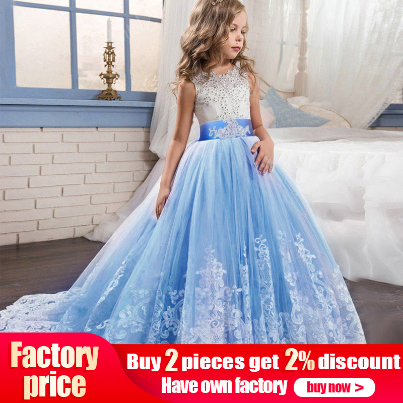 High quality evening   flower   no tailing   girl     dress   baby evening wedding birthday   girls     dress   first communion princess costume