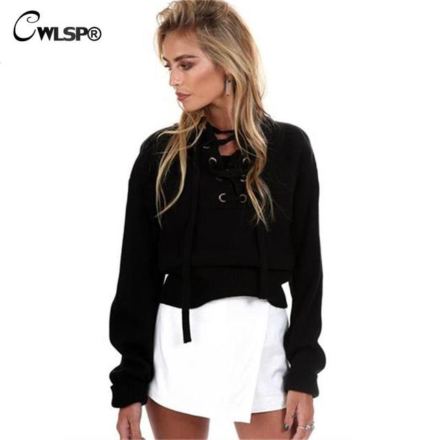 2016 Autumn Winter Lace up Sweater Women Gray Long Sleeve Hollow out Sexy V neck Knitted Pullover Casual Street Wear tops QL2440