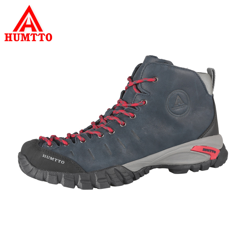 HUMTTO Men Hiking Shoes Genuine Leather Outdoor Shoes Waterproof Climbing Shoes Hard-Wearing Thermal Boots Mountain Sneakers humtto new hiking shoes men outdoor mountain climbing trekking shoes fur strong grip rubber sole male sneakers plus size