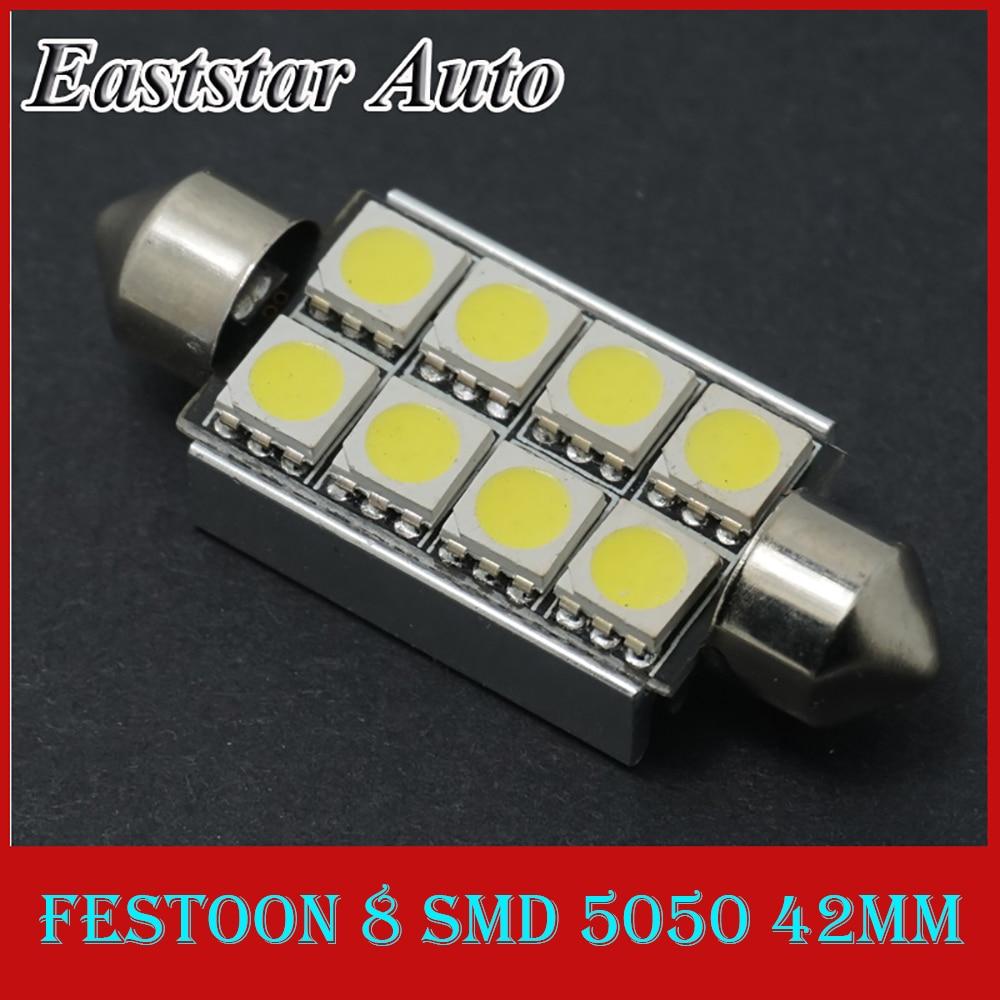 CQD-Light 2pcs Canbus Festoon Dome Lights C5W 39mm 42mm 8 SMD 5050 LED White Error Free Car Lamp Bulb Parking Light Source 12V